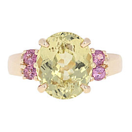 14K Yellow Gold Chrysoberyl, Rhodolite Garnet Ring Size 6.75