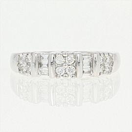 14K White Gold Diamond Wedding Ring Size 8.5