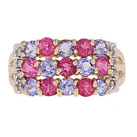 Tourmaline, Tanzanite, Diamond Ring Size 7.25