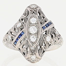 18K White Gold Diamond, Sapphire Ring Size 4