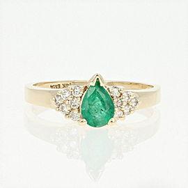 14K Yellow Gold Emerald, Diamond Ring Size 8.25