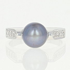 18K White Gold Cultured Pearl, Diamond Ring Size 6.75