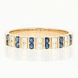 14K Yellow Gold Sapphire, Diamond Ring Size 8.5