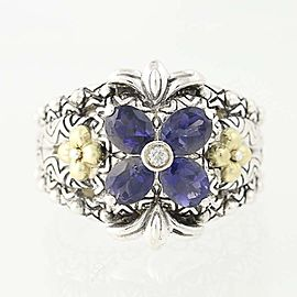 18K Yellow Gold, Sterling Silver Iolite, Topaz Ring Size 5.25