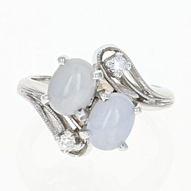 14K White Gold Star Sapphire, Diamond, Sapphire Ring Size 3