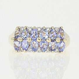 14K Yellow Gold Tanzanite, Diamond Ring Size 7.75