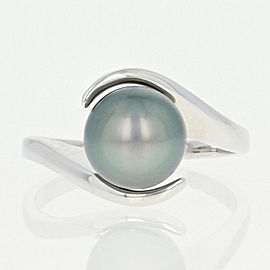 14K White Gold Cultured Pearl Ring Size 8