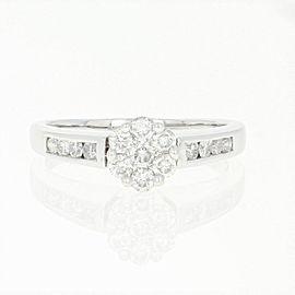 10K White Gold Diamond Engagement Ring Size 8.25