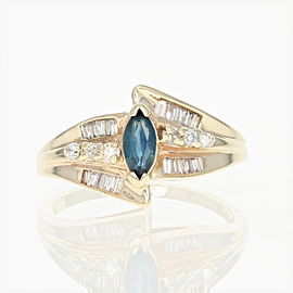 14K Yellow Gold Sapphire, Diamond Ring Size 7.25