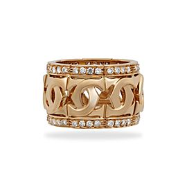 Cartier Double C Ring 18K Yellow Gold Diamond Size 5