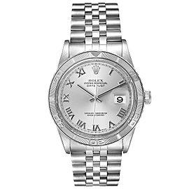 Rolex Turnograph Datejust Steel White Gold Silver Roman Dial Watch 16264