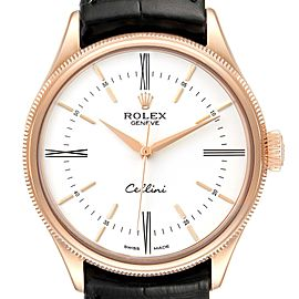 Rolex Cellini Time 18K EveRose Gold White Dial Mens Watch 50505 Box