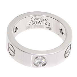 CARTIER Ring love ring half Diamond 18K White Gold