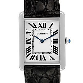 Cartier Tank Solo Steel Silver Dial Black Strap Unisex Watch W1018355 Box