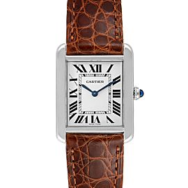 Cartier Tank Solo Steel Brown Strap Quartz Ladies Watch W1018255