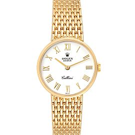 Rolex Cellini Classic 26mm White Dial Yellow Gold Ladies Watch 5041