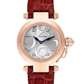 Cartier Pasha 32 Rose Gold Silver Diamond Dial Ladies Watch 2812