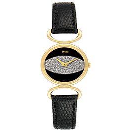 Piaget Classique Yellow Gold Onix Diamond Dial Vintage Ladies Watch 9802