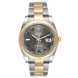 Rolex Datejust 41 Steel Yellow Gold Grey Dial Green Numerals Mens Watch