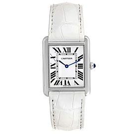 Cartier Tank Solo Steel Silver Dial White Strap Unisex Watch W1018355