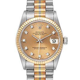 Rolex President Tridor 31mm Midsize White Yellow Rose Diamond Watch 68279 Box