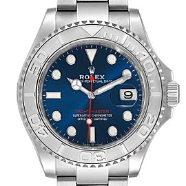 Rolex Yachtmaster Steel Platinum Blue Dial Mens Watch
