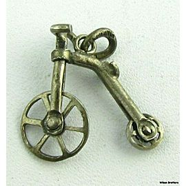 Victorian Style Bike Charm - Sterling Silver Penny-Farthing Big Wheel Pendant