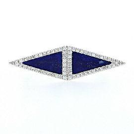White Gold Lapis Lazuli & Diamond Geometric Two-Stone Halo Ring 14k Single.14