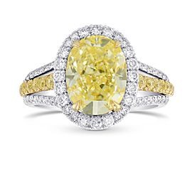 Leibish 18K Yellow Gold and Platinum with 3.80ctw Diamond Halo and Split Shank Ring Size 6.5