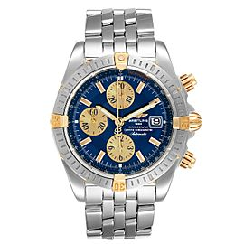 Breitling Chronomat Steel 18K Yellow Gold Blue Dial Mens Watch B13356