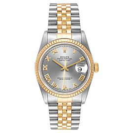 Rolex Datejust Steel Yellow Gold Slate Dial Mens Watch 16233