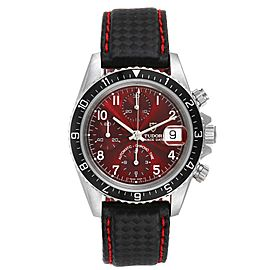 Tudor Tiger Woods Chronograph Sunburst Burgundy Dial Mens Watch 79270