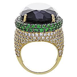 18K Yellow Gold Citrine, Diamond, Tsavorite Ring Size 7.5