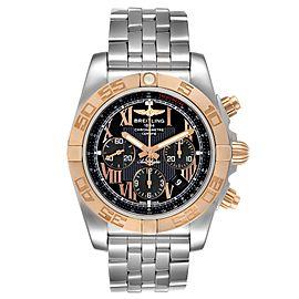 Breitling Chronomat Evolution Black Dial Steel Rose Gold Mens Watch CB0110
