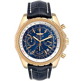 Breitling Bentley Yellow Gold Blue Dial Chronograph Watch