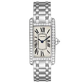 Cartier Tank Americaine 18K White Gold Diamond Ladies Watch WB7073L1