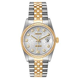 Rolex Datejust Steel Yellow Gold Jubilee Diamond Dial Mens Watch 16233