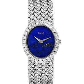 Piaget Lapis Lazuri Dial White Gold Diamond Vintage Cocktail Ladies Watch 9814