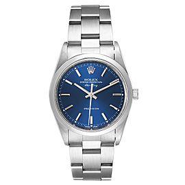 Rolex Air King 34 Blue Dial Domed Bezel Steel Mens Watch 14000