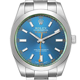 Rolex Milgauss Blue Dial Green Crystal Steel Mens Watch 116400