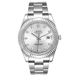 Rolex Datejust II 41mm Steel White Gold Diamond Mens Watch 116334