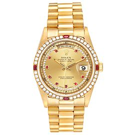 Rolex President Day-Date Yellow Gold String Diamond Ruby Dial Watch 18238