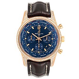Breitling Transocean Blue Dial Rose Gold Diamond Mens Watch RB0510