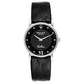 Rolex Cellini Classic 18k White Gold Black Dial Unisex Watch 5115