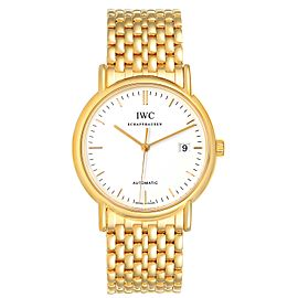 IWC Portofino White Dial Mesh Bracelet Yellow Gold Mens Watch IW925101