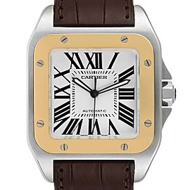 Cartier Santos 100 Steel Yellow Gold 38mm Mens Watch W20072X7 Box