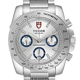 Tudor Sport Silver Dial Chronograph Steel Mens Watch 20300 Card