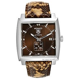 Tag Heuer Monaco Bronze Diamond Dial Python Strap Steel Mens Watch WW2116