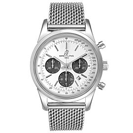 Breitling Transocean Panda Dial Chronograph Steel Mens Watch AB0152