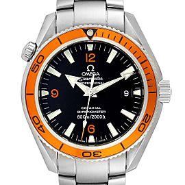 Omega Seamaster Planet Ocean Orange Bezel Steel Mens Watch 2209.50.00 Box